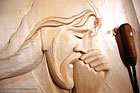 jesus wood carving close up